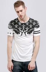 GustOmerD star print T-shirt men's short-sleeved cotton T-shirt leisure shirts men shirts clothes white m