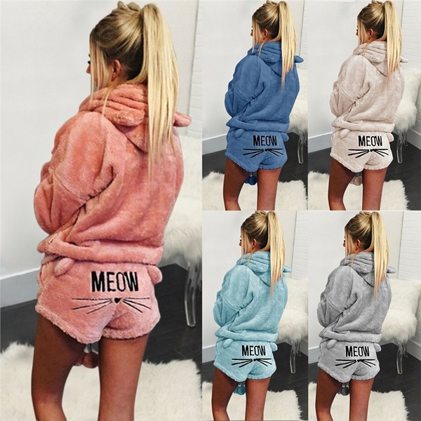 c3e66f1d05 ---Cute Cat Print ---Solid Color ---Coral Velvet Pajama ---Hooded Sleepwear  Gender women Color sky blue