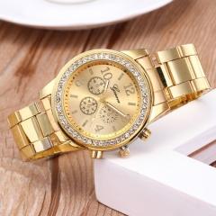 GENEVA Brand Fashion Wrist Watch Women Rhinestone Wristwatches Ladies Classic Luxury Quartz gold