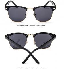 Classic Half Metal Sunglasses Men Women Brand Designer Glasses Sun Glasses Fashion Gold&Grey one size