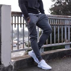 Men Jogger sportswear Pants Casual Elastic cotton trousers black m