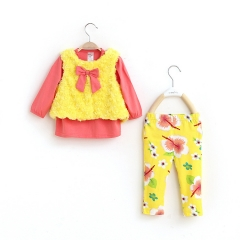 0-2 year old baby three-piece suit cotton long-sleeved shirt + pants + vest kids wear for girl image color 12M