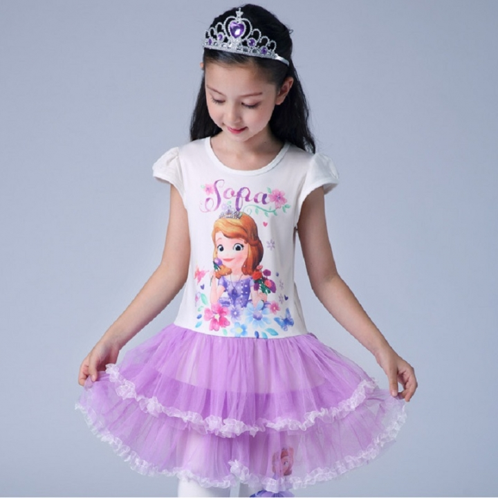 fbac5b2e8 3-10 year old girl Frozen cartoon princess dress long  short sleeve ...