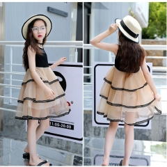 Girls Skirt Top + Skirt Two-piece Lace Dress Stitching Cake Dress Girls Sleeveless Skirt khaki 110