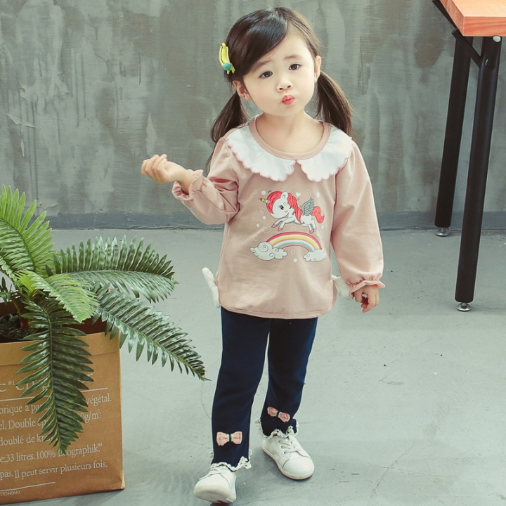 1-8TGirl long sleeve + trousers 2pcs suit doll collar pony rainbow cotton kids wear for girl child pink 80