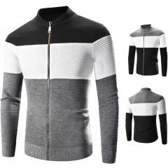 2018 Men's Sweater Cardigan Sweater Slim Casual Business Sweater Jacket coat Black M