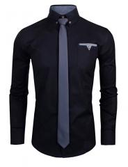 Men's Long Sleeve Shirt Men's Business Casual Shirt Men's Shirt Dress Up Best Man blcak m