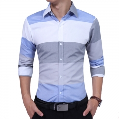 Men's Long Sleeve Shirt Men's Business Contrast Stripe Casual Shirt Slim Shirt Cotton blue L