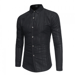 Men's Long Sleeve Shirt Men's Casual Business Slim Shirt Men's Dress blcak m