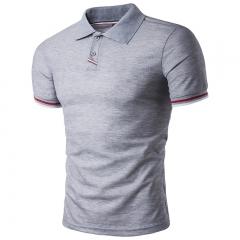 Men's Short Sleeve Polo Shirt Men's Casual Slim Business T-Shirt gray s