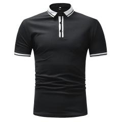 Men's Short Sleeve Polo Shirt Men's Casual Slim Business T-Shirt black m
