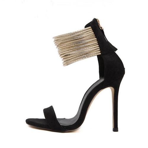 2a2d13a5e Women's Black Suede 11cm High Thin Heels Wedding Party Peep Toe Sandals for  Ladies black 37