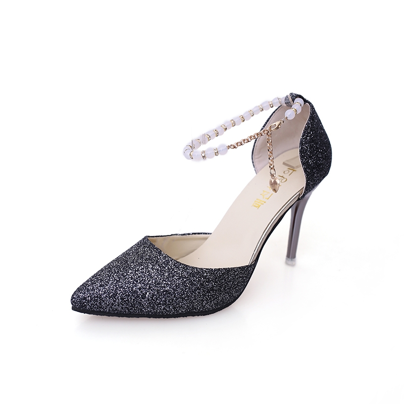 65c9a0ebc853 Women s Elegant Pointy Toe Buckle 10cm High Thin Heels with Pearl of Chain Wedding  Shoes black 34  Product No  471288. Item specifics  Seller SKU 501  Brand  ...