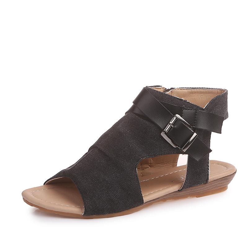 43280dd36 Women Special Design Denim Fabric Sandals Roman Style Comfortable Walking  Slippers Khaki Ashy Shoes black 36  Product No  516430. Item specifics   Seller ...