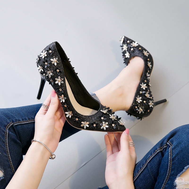 f0229d717 ... Silver Flower Crystal Decorated Wedding Party Shoes black 35  Product  No  522124. Item specifics  Seller SKU 530  Brand