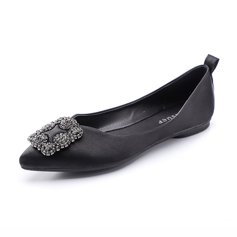 4fc98f218 Lady Elegant Pointy Silk Fabric Square Crystal Flats Women Slip-on ...