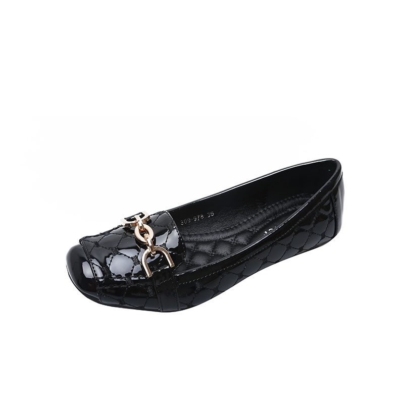 6976f96edbe6 Lady Square Toe Shiny PU Leather Flats Women Metal Chain Ballerinas Casual  Slip-on Office Shoes black 36  Product No  527769. Item specifics  Seller  SKU 109 ...
