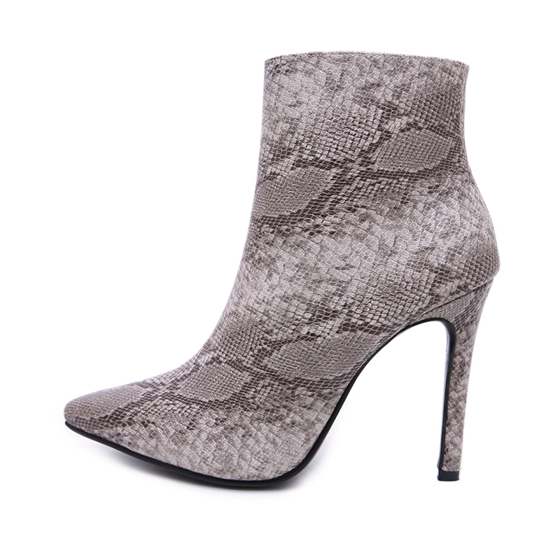 68749b8c6df New Fashion Women Black Snake Skin Pattern Boots Sexy Short Plush Warm  Heels Zip Pointy Shoes black 35