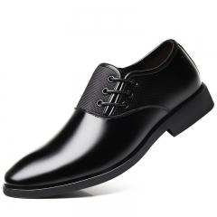 Men Assorted Leather Design Formal Business Shoes Slip-on Pointy Breathable Wedding Dress Shoes black 38