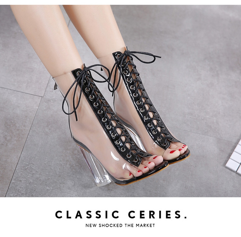 74e8ba858d1 New Fashion Women Transparent Side Front Black Lace Up Peep Toe Heels High  Top Cover Heel Boots black 35