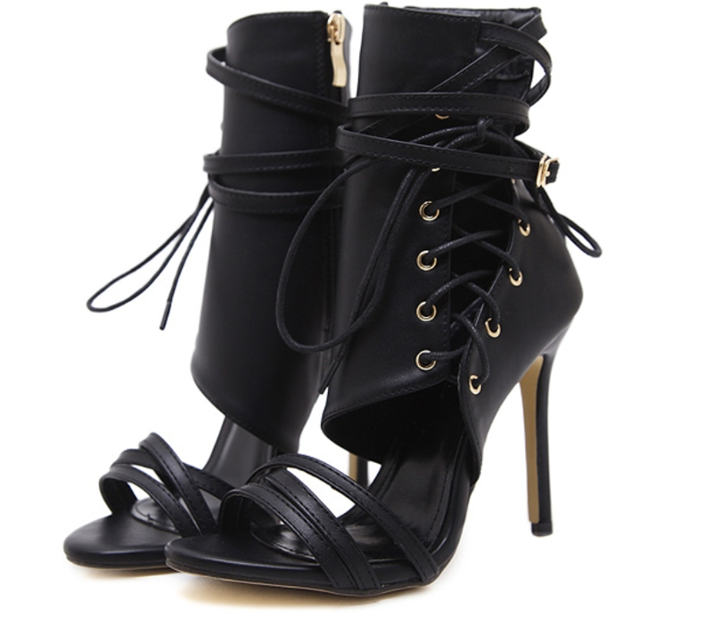 b1bd2a35bd32 Women Ankle Bandage Peep Toe High Heels Lady Side Zip Up Apricot ...