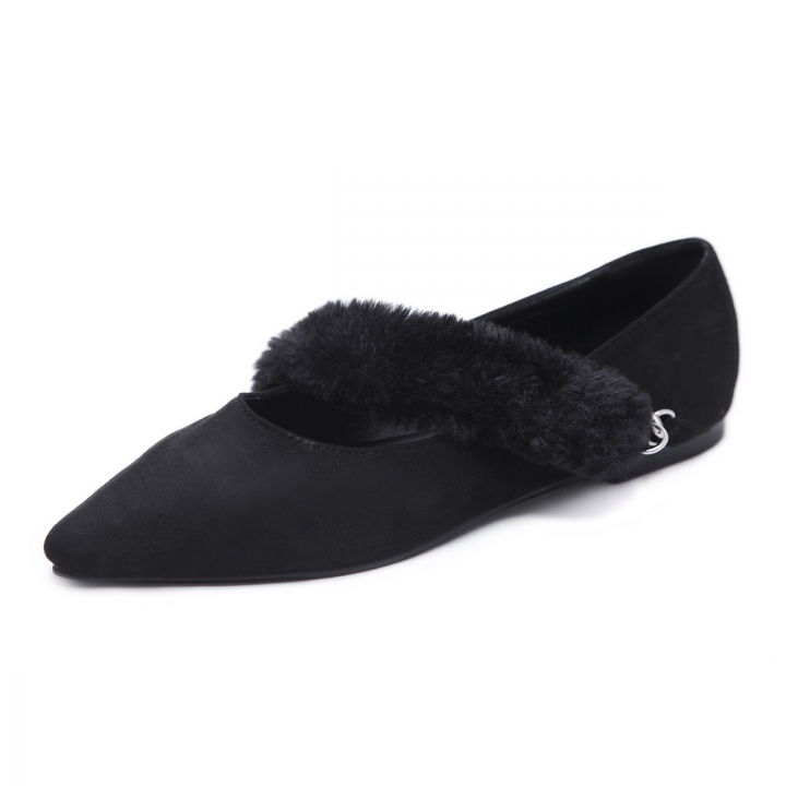 Women Brown Suede Plush Band Slip On Flats Elegant Pointy Lady Shoes Office  Casual Shoes black 1a04a8ad6b00