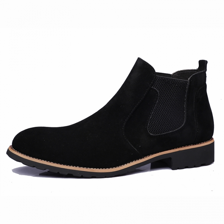 a2b5c406b82 Men Suede Leather Elastic Slip On Pointy Wedge Boots Leisure Casual Work  Shoes black 37