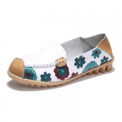 Women Floral Printed Leather Upper Slip On Flats Leisure Casual Long Walking Comfortable Shoes white 35