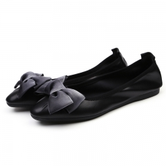 New Women Square Toe Silk Bowknot Super Light Comfortable Sole Flats Slip On Court Shoes black 35