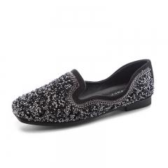 Women Black Square Toe Low Cut Crystal Sparkling Shoes Bling Shiny Slip On Casual Flats black 35
