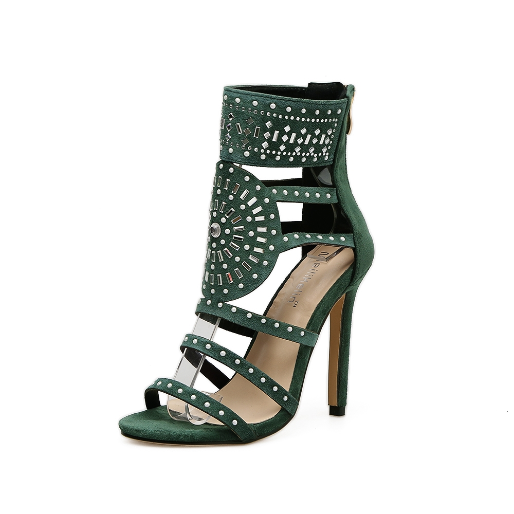 6414b5f7c7e5bc Women Crystal Ankle Bandage Back Zip Up Thin High Heels Sexy Lady Party  Wedding Sandals Shoes green 41  Product No  579392. Item specifics  Seller  SKU 600 ...