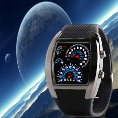 Fashion Aviation Turbo Dial Flash LED Watch Gift Mens Lady Sports Car Meter Watch black case black band