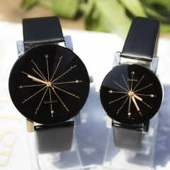 Men/Women Fashion Watch Quartz Dial Clock Leather Watch Couple Watches Mr Black