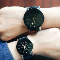 Men/Women Fashion Watch Quartz Dial Clock Leather Watch Couple Watches Ms Black