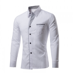 Brand Men's Shirt Youthful Fashion Slim Fit Shirt Men Business Shirt Brand Men's Clothes white m