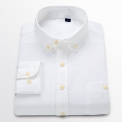 New Men Oxford Shirt Youth Fashion Slim Fit Shirt Brand Clothing Mens Business Shirt white m