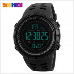Men Sports Watches Countdown Double Time Watch Alarm Digital Wristwatches 50M Waterproof black