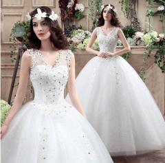 1 Piece Sexy V Collar See Through Sleeveless Appliques Wedding Dresses Bride Dresses Wedding Gowns white 3xl