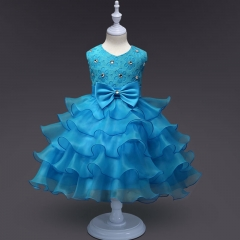 Girl Dress Summer Floral Baby Girls Dress Vestidos Wedding Party Baby Clothes Birthdays Clothing light blue 80