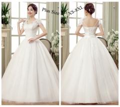 1 Piece Women Elegant Lace Up Applique Plus Size Wedding Dress Bride Dresses Ball Gowns white 4xl