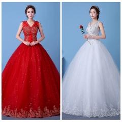 1 Piece Deep V Collar Sleeveless Wedding Dresses Appliques Corset Bride Dresses Ball Gowns white 3xl