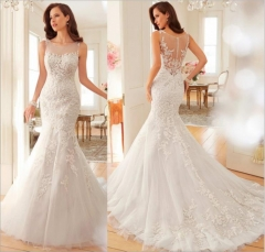1 Piece Sexy Back See Through Wedding Dresses Mermaid Bride Dresses Ball Gowns white xxl