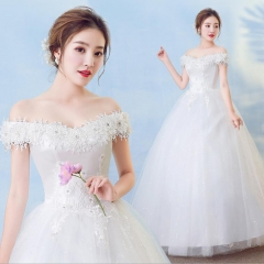 2018 Newest Africa Sexy Off Shoulder Lace Flowers Appliques Wedding Gown Bride Dresses Ball Gowns white 4xl