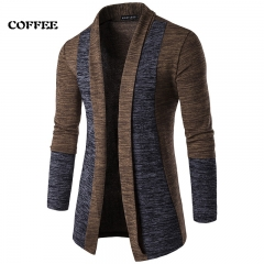 2018 Newest Men's Splice Contrast Color Cardigan Sweaters Coat Casual Knitwear Male Thick Sweaters coffee M