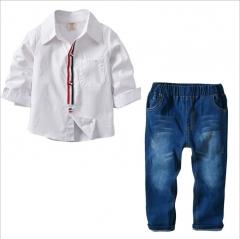 Spring Kids Clothing Set Boy Clothing Sets Children's Fashion Denim Suit Boys Clothes Baby Kids Sets white 90