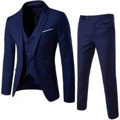 High Quality Men Suits Three Pieces Blazer&Vest&Pants Bridegroom Wedding Suit Business Casual Suits navy blue xxl