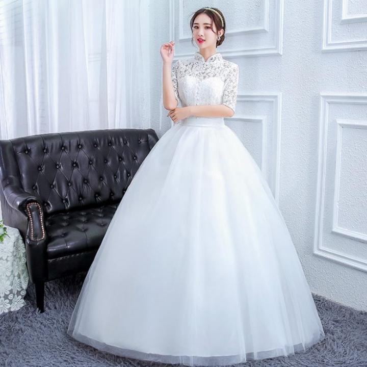 52fe021e660 Fashion Korean Style Wedding Gown Elegant Half Sleeve Stand Collar