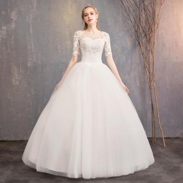 See Through Wedding Dresses.Fashion Korean Style Wedding Gown Sexy See Through Bridal Wedding Dresses Slim Ball Gown White S