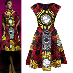 African Hot Selling Digital Print Sunflower Pattern Tutu Dresses Fashion Women Dresses picture color s