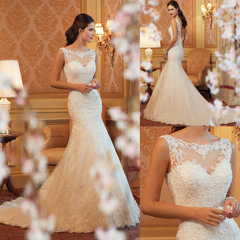 Ruffle Design Romantic Mermaid Wedding Dresses Lace Appliques Princess Bride Dresses Wedding Gown ivory 14w